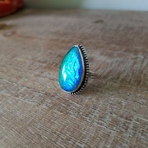 Australian Triplet Opal Pear SS Ring